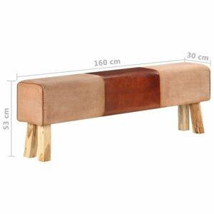 Lavica pravá koža / drevo Dekorhome 160 cm