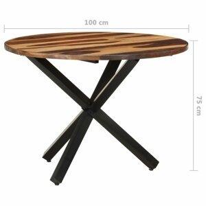 Jedálenský stôl akácie / čierna Dekorhome 100x100x75 cm
