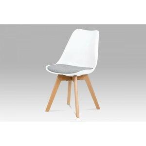 Jedálenská stolička CT-722 plast / látka / drevo Autronic Biela / sivá