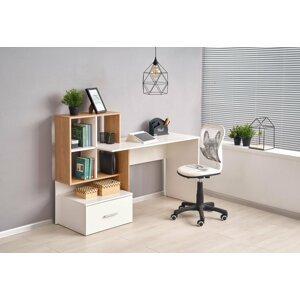 Písací stôl s úložným priestorom GROSSO Halmar Biela