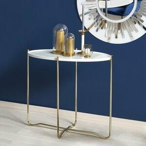 Konzolový stolík KN2 biela / zlatá Halmar