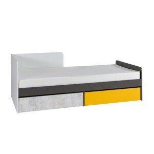 Posteľ s úložným priestorom MATEL B7 biela / sivý grafit / enigma / žltá Tempo Kondela