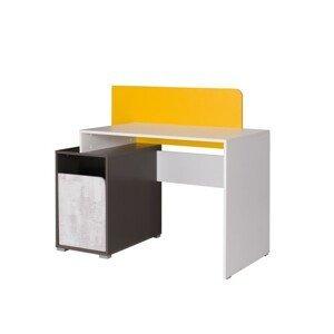 PC stôl MATEL B8 biela / sivý grafit / enigma / žltá Tempo Kondela