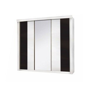 Vešiaková skriňa 3-dverová RUBLIN biela / čierna Tempo Kondela