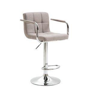 Barová stolička LEORA 2 NEW sivohnedá taupe látka / chróm Tempo Kondela