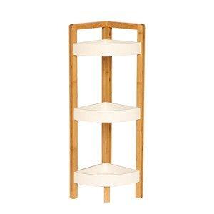 Rohový regál FONG biela / prírodný bambus Tempo Kondela
