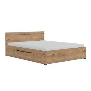 Manželská posteľ UTAH 160x200 dub grandson zlatá / uni sivá Tempo Kondela