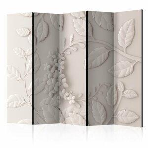 Paraván Paper Flowers (Cream) Dekorhome 225x172 cm (5-dielny)