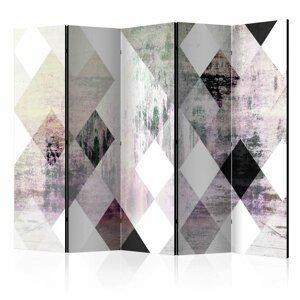 Paraván Rhombic Chessboard (Pink) Dekorhome 225x172 cm (5-dielny)
