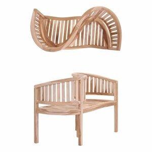 Záhradná lavička v tvare písmena S z teakového dreva