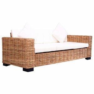Záhradné sedačka pre 3 osoby prírodný ratan / krémovo biela Dekorhome