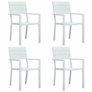 Záhradné stoličky 4 ks HDPE drevený vzhľad Dekorhome Biela