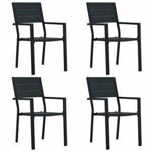 Záhradné stoličky 4 ks HDPE drevený vzhľad Dekorhome Čierna