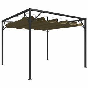 Záhradný altánok so zaťahovacou strechou Dekorhome Sivohnedá