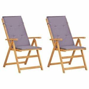 Záhradné polohovacie stoličky 2 ks akáciové drevo Dekorhome Sivá