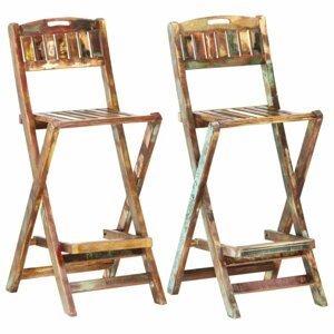 Skladacie záhradné barové stoličky 2 ks recyklované drevo Dekorhome