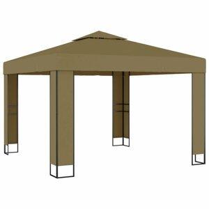 Záhradný altánok s dvojitou strechou 3 x 3 m Dekorhome Sivohnedá