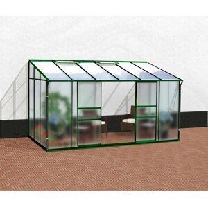 Skleník k stene IDA 7800 sklo / polykarbonát Dekorhome Zelená