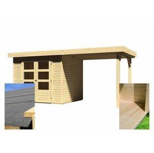 Drevený záhradný domček s prístavkom a podlahou 491 x 238 cm Dekorhome