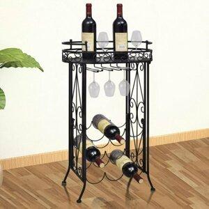 Stojan na víno na 9 fliaš so stojanom na pohár Dekorhome