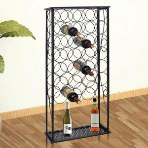 Stojan na víno na 28 fliaš čierna Dekorhome