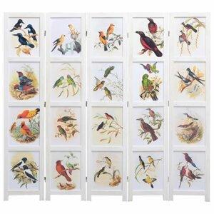 Paravan 3-dielny biela / vzor vtáky Dekorhome 175x165 cm (5-dielny)