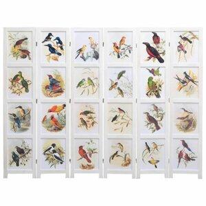 Paravan 3-dielny biela / vzor vtáky Dekorhome 210x165 cm (6-dielny)