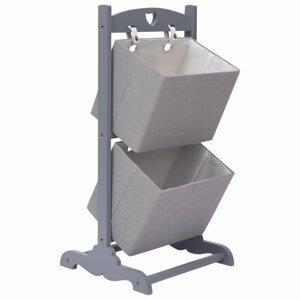 Regál s 2 košíky Dekorhome Sivá