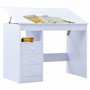 Detský písací stôl náklopný Dekorhome Biela