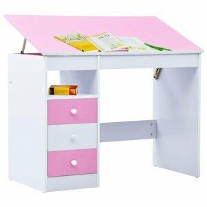 Detský písací stôl náklopný Dekorhome Ružová