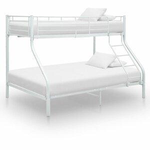Poschodová posteľ kov Dekorhome Biela