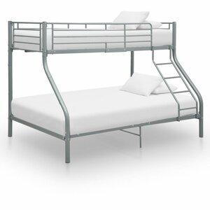 Poschodová posteľ kov Dekorhome Sivá