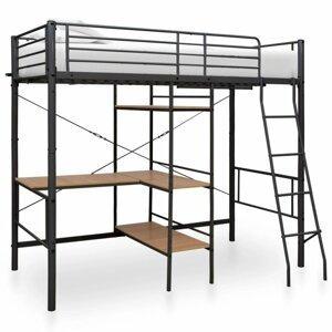 Viacúčelová posteľ 90x200 cm kov Dekorhome Sivá