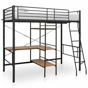 Viacúčelová posteľ 90x200 cm kov Dekorhome Čierna