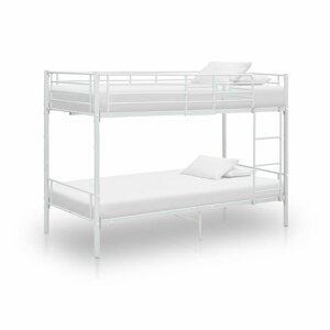 Poschodová posteľ 90x200 cm kov Dekorhome Biela