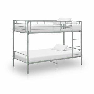 Poschodová posteľ 90x200 cm kov Dekorhome Sivá
