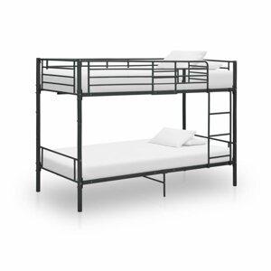 Poschodová posteľ 90x200 cm kov Dekorhome Čierna