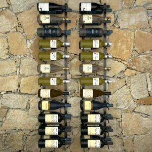 Nástenný stojan na víno na 48 fliaš 2 ks čierna Dekorhome