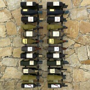 Nástenný stojan na víno na 72 fliaš 2 ks čierna Dekorhome