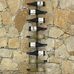 Nástenný stojan na víno na 9 fliaš čierna Dekorhome