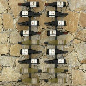 Nástenný stojan na víno na 18 fliaš 2 ks čierna Dekorhome