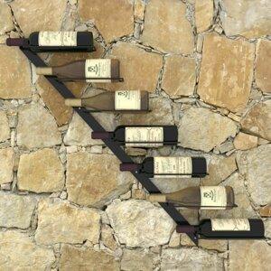 Nástenný stojan na víno na 7 fliaš čierna Dekorhome