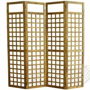 Paravan akáciové drevo / treláž Dekorhome 160x170 cm (4-dielny)