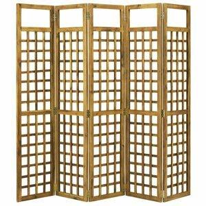 Paravan akáciové drevo / treláž Dekorhome 200x170 cm (5-dielny)