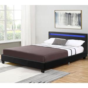 Eshopist Čalúnená posteľ Verona 120 x 200 cm s LED osvetlením v čiernej farbe