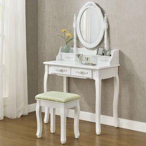 "Eshopist Toaletný stolík ""Mira"" biely so zrkadlom a stoličkou"