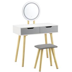 Eshopist Toaletný stolík Hailey biely / šedý s LED zrkadlom a taburetkou