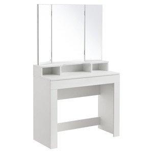 Eshopist Toaletný stolík Marla s trojitým zrkadlom v bielej farbe bez stoličky