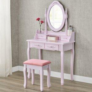 """Eshopist Toaletný stolík """"Mira"""" ružový so zrkadlom a stoličkou"""