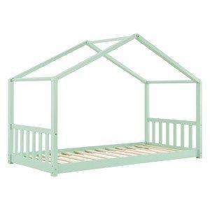 Eshopist Detská posteľ Paulina 90 x 200 cm s latovým roštom mentolovej farby